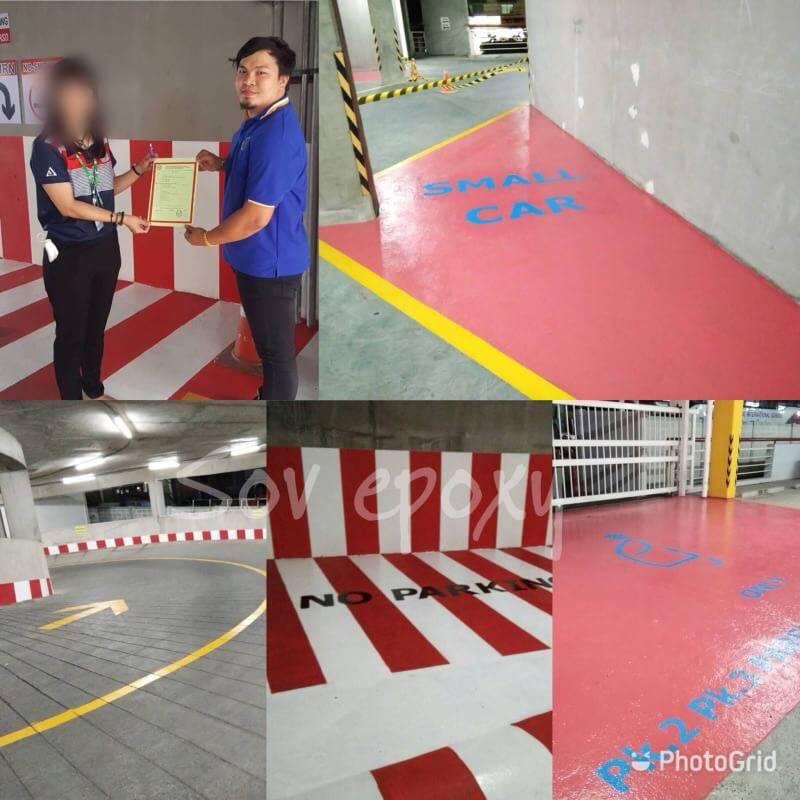 ตีเส้นอาคารจอดรถ โรงเรียนนานาชาติไทย-จีน 1
